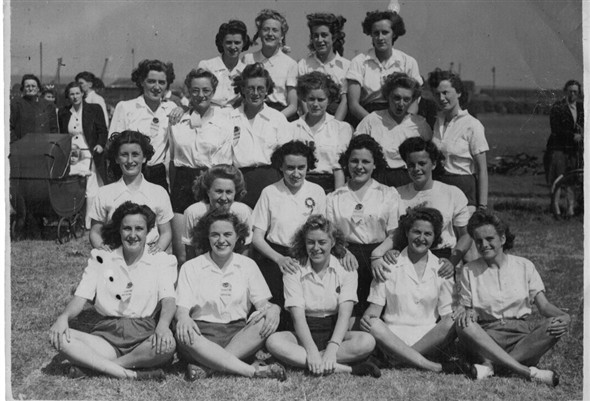 Photo:Back Row L. to R. Joyce Lee, Valerie Stevens, Lola Dodd Mary Amy 3rd Row Dorothy Moon, ? ,Valerie Renville, Gwen Cross, Pauline Wood Brenda Lander. 2nd Row Mary Dodd, Maureen Smith, Pat Eacott, Daphne Lawrence Doreen Harris Front Row Anne Amy, Pat Weller, Iris Kirk, Betty Wilkes Mary Brain