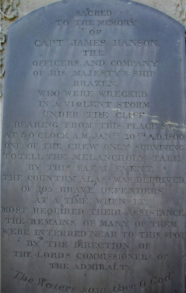 Photo:HMS Brazen memorial words