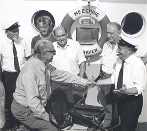 Photo:1975 - David Clitheroe records a radio programme for the tug's 15th birthday.
