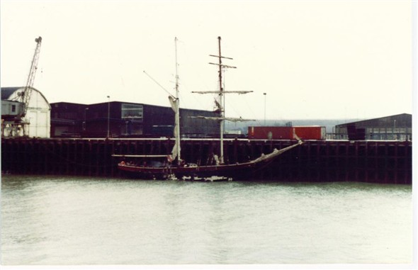 Photo:Old sail boat moored up at the East Quay - c1982