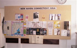Photo:A display of American Tourist Information referring to New Haven, Connecticut, U.S.A. to give added emphasis to the International theme of the transfer.