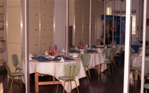 Photo:The TXE4 exchange equipment room temporarily converted to become a restaurant, the tables decked with the Stars & Stripes and Union Flags to emphasise the connection with New Haven, Connecticut, U.S.A.