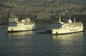 Photo:Former Newhaven ships Senlac and Chartres at Piraeus as Express Apollon and Express Santorini.