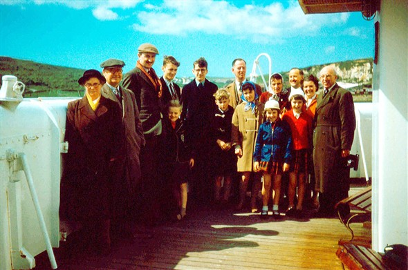 Photo:A happy group of passengers ready for the voyage to Dieppe aboard SS Brighton