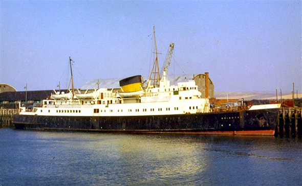Photo:SS Brighton as most will remember her - alongside at Newhaven