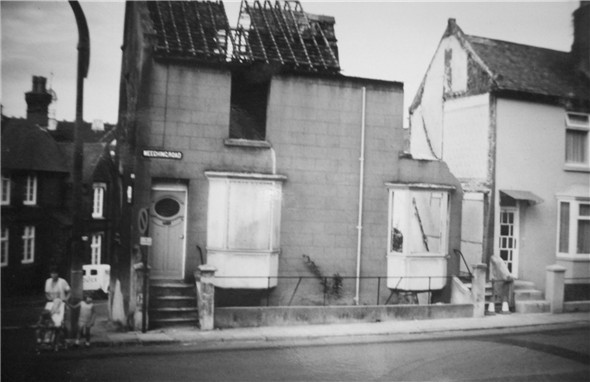 Photo:Old Police Station / Demolishing two house's in Meeching Road - c1969