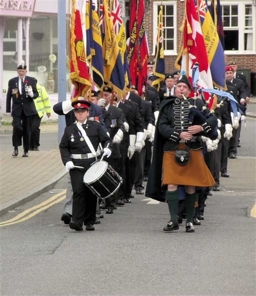 Photo:Standard Bearers on the way from Denton Island