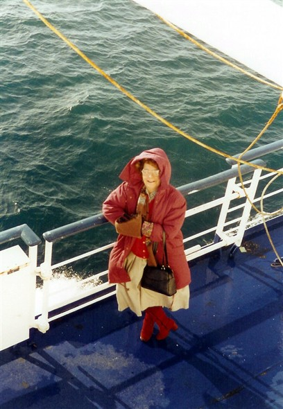 Photo:My wife Pat as 'Little Red Riding Hood' on one of our day trips