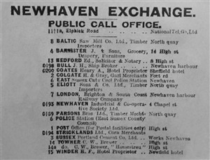 Photo:List of early Newhaven telephone subscribers. See text for comment.