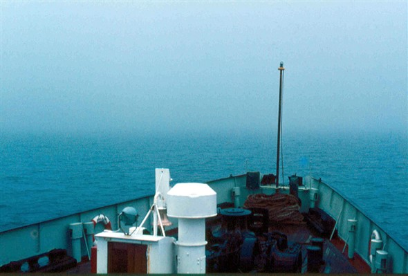 Photo:Falaise - view over the bow mid-Channel
