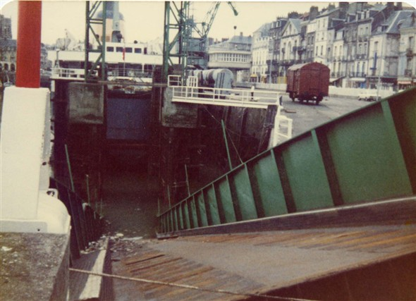 Photo:Collapse of Dieppe Linkspan in which a Spanish Lorry went under the ship killing the driver.