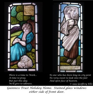 Photo:Stained glass windows with captions at main door