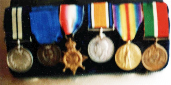 Photo:Medals of Hubert Longly gained in World War I