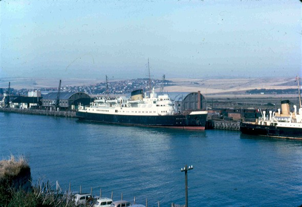 Photo:Harbour view with Brighton & cargo ship 1964