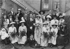 Photo:Wedding of Gertrude Hibling - photo probably taken at the rear of Meeching Road