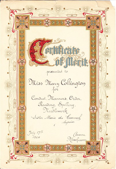 Photo:Convent end of year certificate awarded to Mary Collington age 10