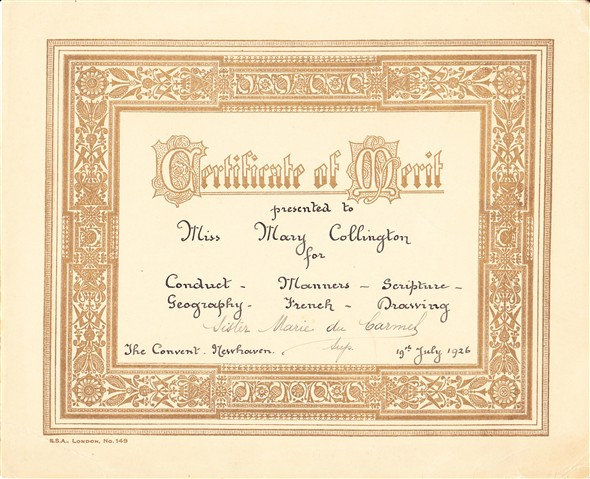 Photo:Another of Mary's certificates from the convent