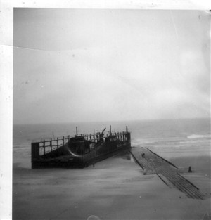 Photo:The Dock high and dry on the beach at Ostend