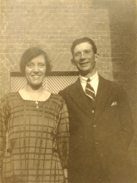 Photo:Mary with her first husband, Harold Stapley, Uckfield, late 1920s