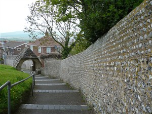 Photo:Wall enclosing the churchyard of the Church of St Michael and All Angels
