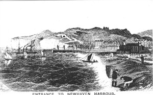 Photo:A postcard of an engraving depicting the entrance to the harbour with a paddle steamer leaving for Dieppe. Note: The Newhaven Historical Society Emblem is loosely based upon the paddle steamer in this engraving