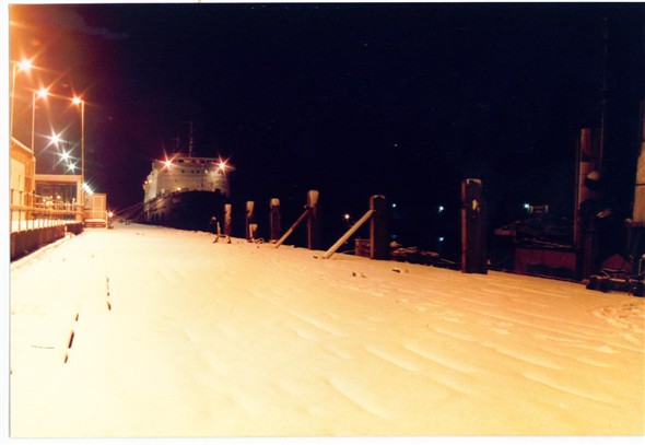Photo:MOORED UP AT NIGHT, IN THE SNOW (Jan 1985)