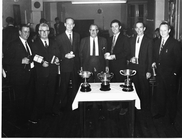 Photo:Conservative club snooker players - C1968 - 1?,2?,3?,4?,5 Bob Stonehouse,6 John Spencer (Professional),7?