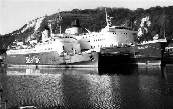 Photo:Senlac laid up at Dover together with the Caesarea
