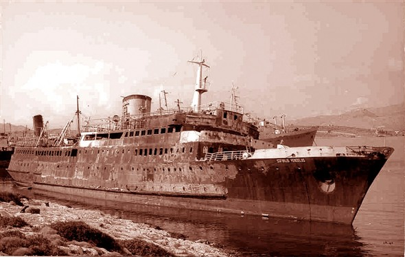 Photo:Burned out wreck of Sofoclis Venizelos