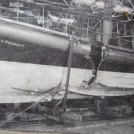 "Photo:23/11/1940 Damage due to collision with the trawler ""Avanturine"". One crew member lost overboard."