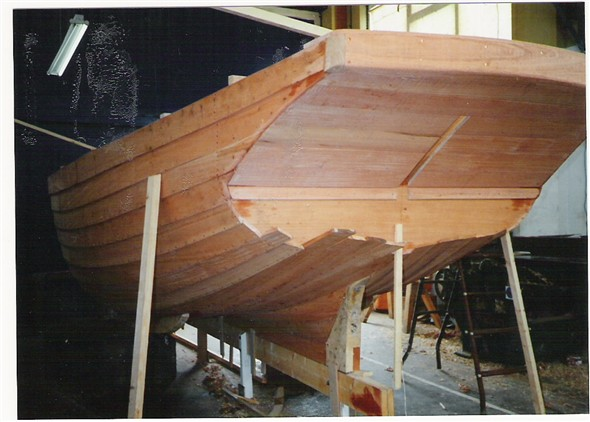 Photo:Stern view showing the counter stern of the 20 ft beach boat.