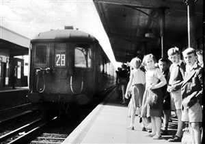 Photo:Children waiting for the train at Newhaven Town Station. Do you remember those old style trains?