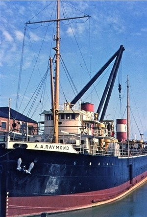 Photo:A A Raymond at the Marine Shops. Painted, but the engine work is yet to be done. Those big funnels would soon disappear.