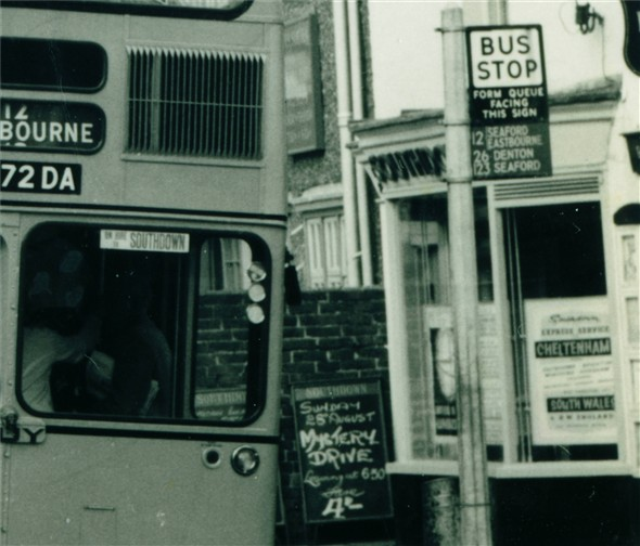 Photo:Southdown Bus stop and ticket office - C1960