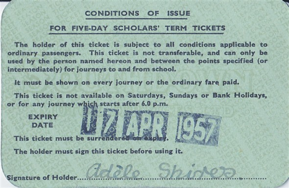 Photo:Reverse Southdown Term Ticket