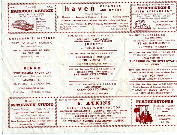 Photo:'What's On' at the Rex Cinema 1963 - inside page
