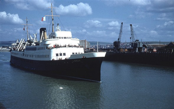 Photo:S S Lisieux leaving Newhaven Harbour 1959