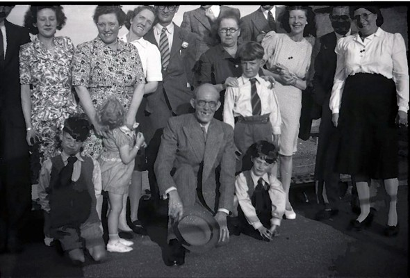 Photo:Denton Island Bridge, circa 1948: some headless & unidentified folks but includes: Marcia Stapley & Mary Warnes [left, rear], Edwin Warnes [kneeling & scowling, front], Barry Wilkinson [wearing white shirt & tie] with his Nan & Mum, Lionel Warnes [in front of Barry]. If anyone can identify any others, please let me know