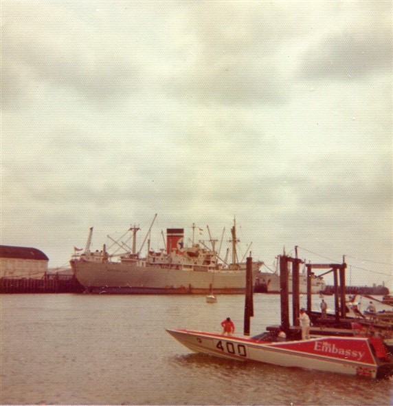 Photo:Moored at the pontoon in the marina, with a Blue Star Line freighter and a 'banana boat' (either 'Lempa' or 'Leon') moored behind at the Fishers Terminal on the East Quay