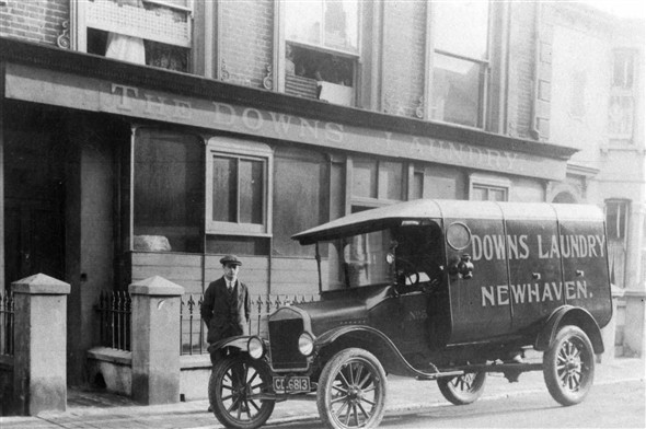 "Photo:The Brighton registration number ""CD"" would suggest this photograph of the Downs Laundry`s Model T Ford van to have been taken in the early 1920`s."