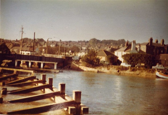 Photo:Taken from the North Quay showing the Swing  Bridge,and to the right the public toilets, and behind the toilets the white building was then the New Brige Inn later to become C & E Sports.
