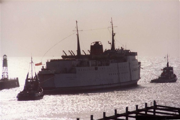"Photo:March 1983. The ""Caledonian Princess"" leaving Newhaven under tow to become a night club  in Newcastle."