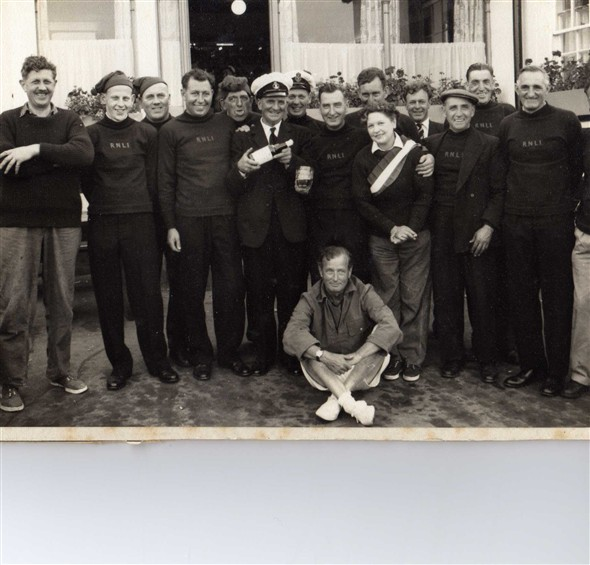 Photo:The crew;  left to right, 2nd left ; John Ingram-Reg Ingram-Edgar Moore-Steve Holden-Bill Harvey-Eric Page-Frank Vacher-Harold Moore-Ken Wood-George Stockwell-Charlie Ovenden-Bob Holden-Hym Schaverien. As the crew are all dressed in ceremonial uniform this photograph would have been taken after the christening of the Kathleen Mary before the uniforms were handed back to the R N L I, July 13th 1959.
