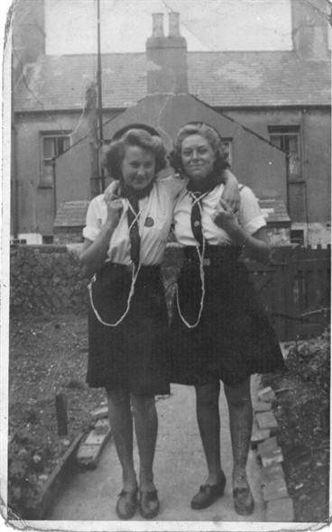 Photo:on left Maureen Smith and Iris Kirk, pictured in the back garden of 17 Lawes Avenue