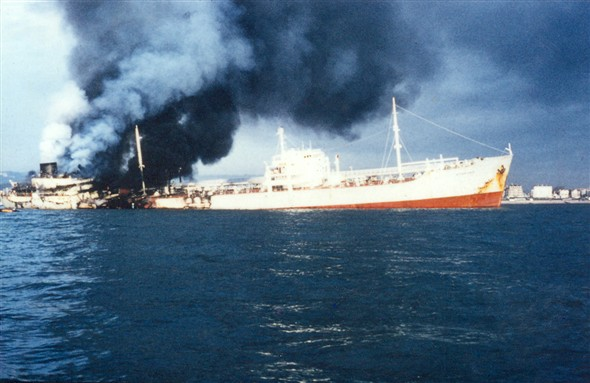 Photo:Sitakund blazes while under tow off Eastbourne. One of just two colour photos I have of the incident.