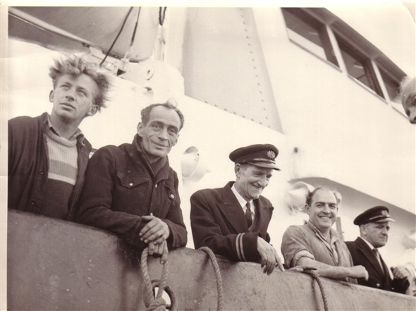 Photo:Meeching crew circa 1965 L to R John Watkins, Ted Townsend, Fred Holden(Skipper) Bob Patterson, Alec Pringle.