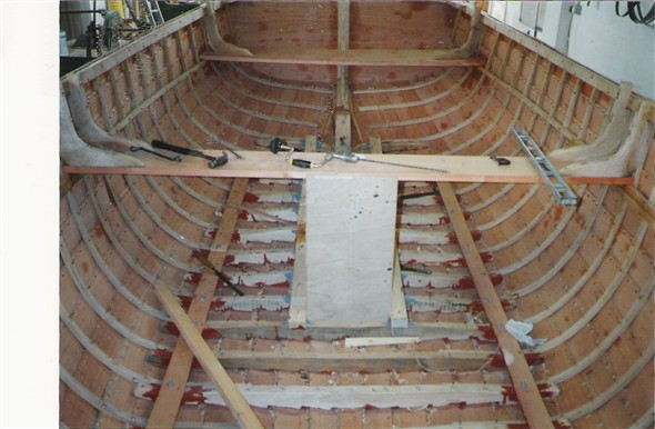 Photo:This is an internal view of the fitting out of this 20ft clinker-built type of construction showing internal oak timber frames together with the lower oak floor frames which had been fitted in the  bottom of the hull.