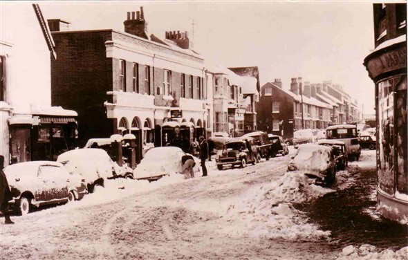 Photo:Meeching Road in the snow c1960's. See Parson's on the right.