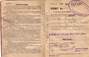 Photo: Illustrative image for the 'FIRST WORLD WAR PERMIT BOOK TO ENTER RESTRICTED AREAS' page