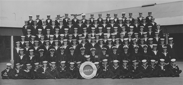 Photo:Year 1954 (Summer ie white fronts and hats) Note: 15 cadets from SCC Newhaven annual training at HMS Ganges (Shotley gate) what a fortnight.